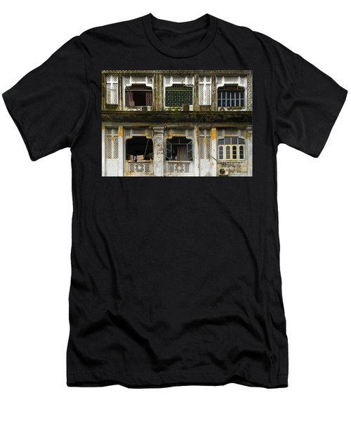 Colonial Facade Bo Soon Pat Street 8th Ward Central Yangon Burma Men's T-Shirt (Athletic Fit)