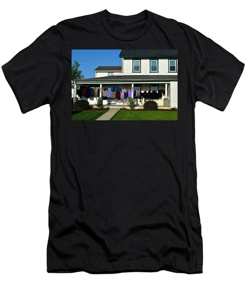 Colorful Amish Laundry On Porch Men's T-Shirt (Athletic Fit)