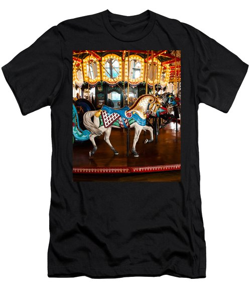 Men's T-Shirt (Slim Fit) featuring the photograph Colorful Carousel Horse by Jerry Cowart