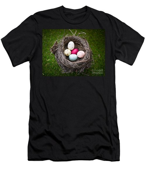 Colorful Eggs In Nest Men's T-Shirt (Athletic Fit)