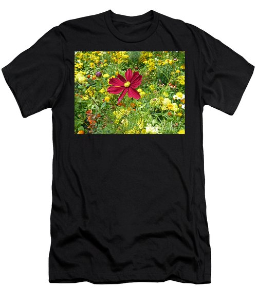 Colorful Flower Meadow With Great Red Blossom Men's T-Shirt (Athletic Fit)