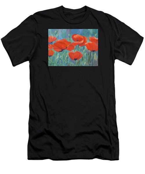 Colorful Flowers Red Poppies Beautiful Floral Art Men's T-Shirt (Athletic Fit)