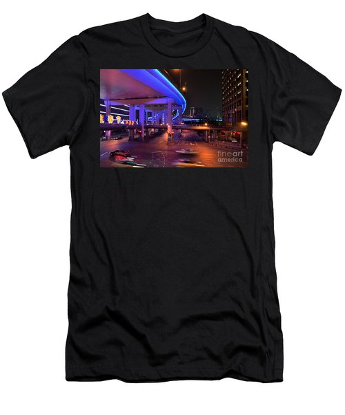 Colorful Night Traffic Scene In Shanghai China Men's T-Shirt (Slim Fit) by Imran Ahmed