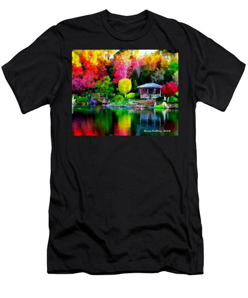 Men's T-Shirt (Slim Fit) featuring the painting Colorful Park At The Lake by Bruce Nutting