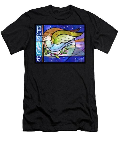 Colorful Peace Dove Men's T-Shirt (Athletic Fit)