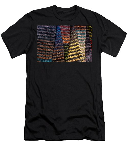 Men's T-Shirt (Slim Fit) featuring the photograph Colorful Scarves by Les Palenik