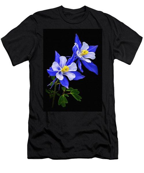 Men's T-Shirt (Slim Fit) featuring the photograph Columbine Duet by Priscilla Burgers