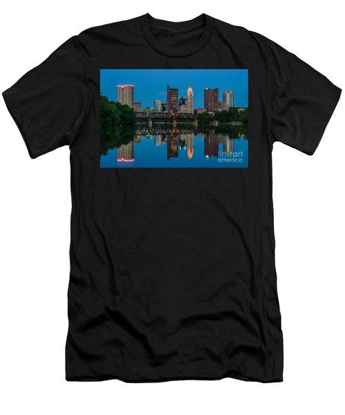 Columbus Ohio Night Skyline Photo Men's T-Shirt (Athletic Fit)