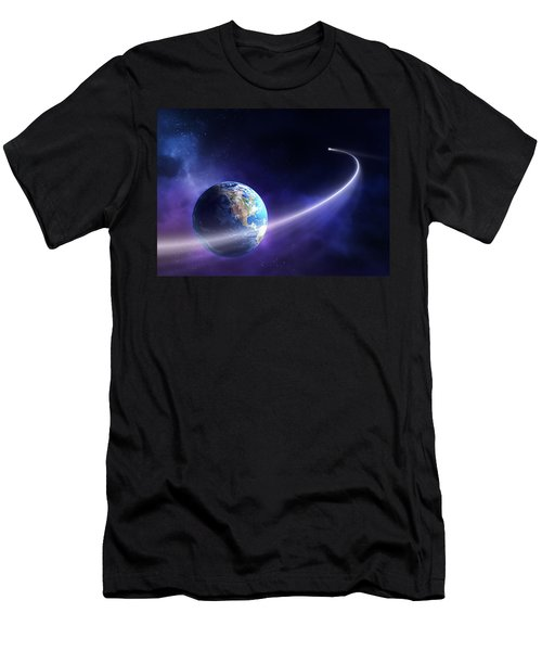 Comet Moving Past Planet Earth Men's T-Shirt (Athletic Fit)