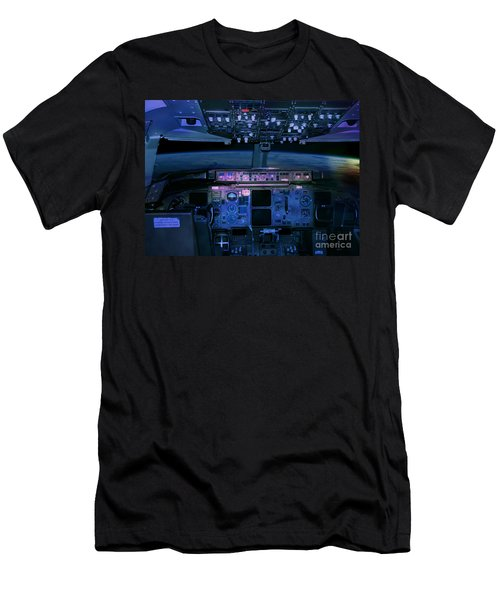 Men's T-Shirt (Athletic Fit) featuring the photograph Commercial Airplane Cockpit By Night by Gunter Nezhoda