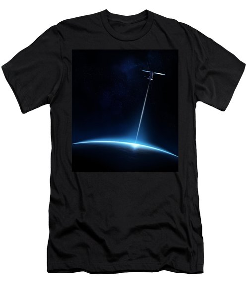 Communication Between Satellite And Earth Men's T-Shirt (Athletic Fit)