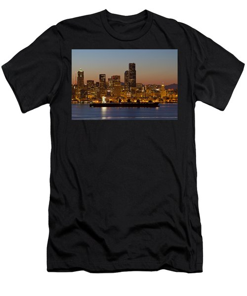Men's T-Shirt (Slim Fit) featuring the photograph Container Ship On Puget Sound Along Seattle Skyline by JPLDesigns