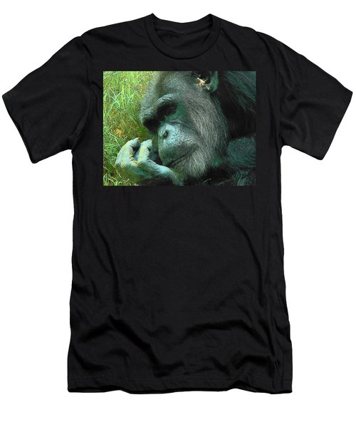 Men's T-Shirt (Slim Fit) featuring the photograph Contemplative Chimp by Rodney Lee Williams