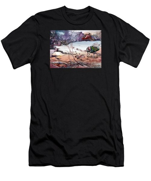 Men's T-Shirt (Slim Fit) featuring the painting Contest by Mikhail Savchenko