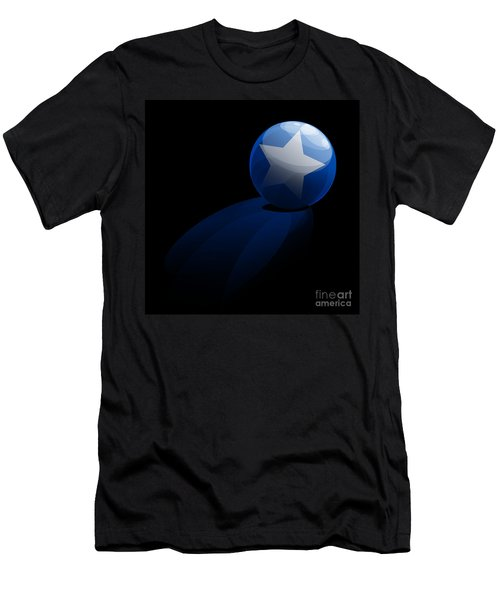 Men's T-Shirt (Slim Fit) featuring the digital art Blue Ball Decorated With Star Grass Black Background by R Muirhead Art