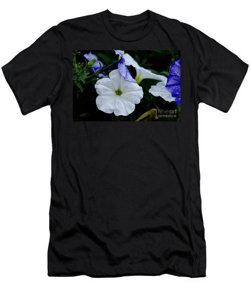 Men's T-Shirt (Slim Fit) featuring the photograph Cool Summer Petunias by Wilma  Birdwell