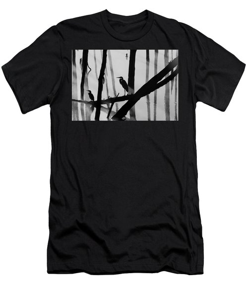 Cormorant And The Heron  Bw Men's T-Shirt (Athletic Fit)