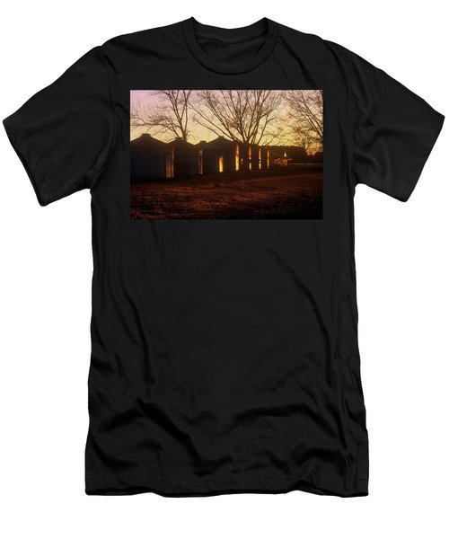 Men's T-Shirt (Slim Fit) featuring the photograph Corn Cribs At Sunset by Rodney Lee Williams