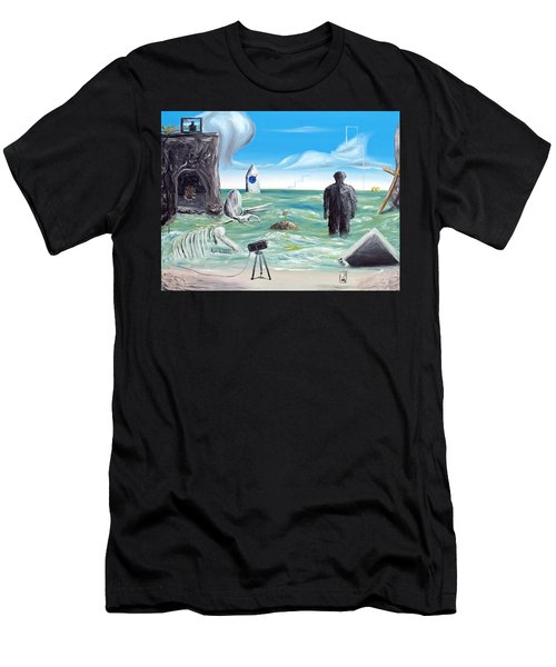 Men's T-Shirt (Athletic Fit) featuring the painting Cosmic Broadcast -last Transmission- by Ryan Demaree