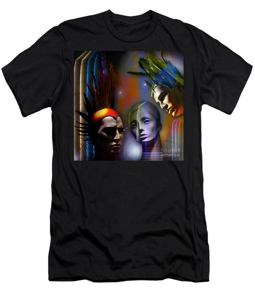 Men's T-Shirt (Slim Fit) featuring the digital art Cosmic Mannequins Triad by Rosa Cobos