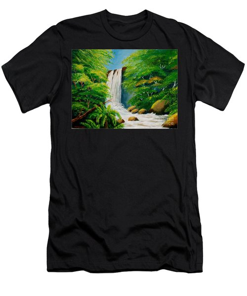 Costa Rica Waterfall Men's T-Shirt (Athletic Fit)