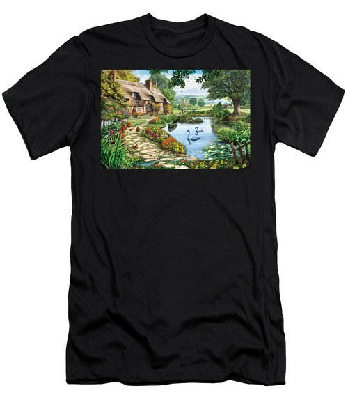 Cottage By The Lake Men's T-Shirt (Athletic Fit)