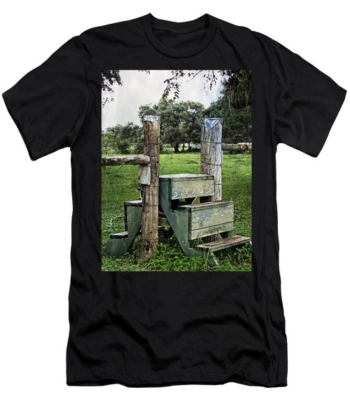 Men's T-Shirt (Slim Fit) featuring the photograph Country Farm Fence Stile Crossing by Ella Kaye Dickey