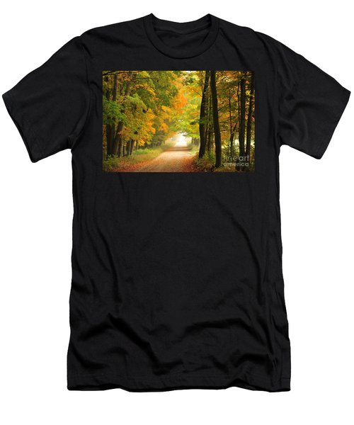 Men's T-Shirt (Slim Fit) featuring the photograph Country Road In Autumn by Terri Gostola