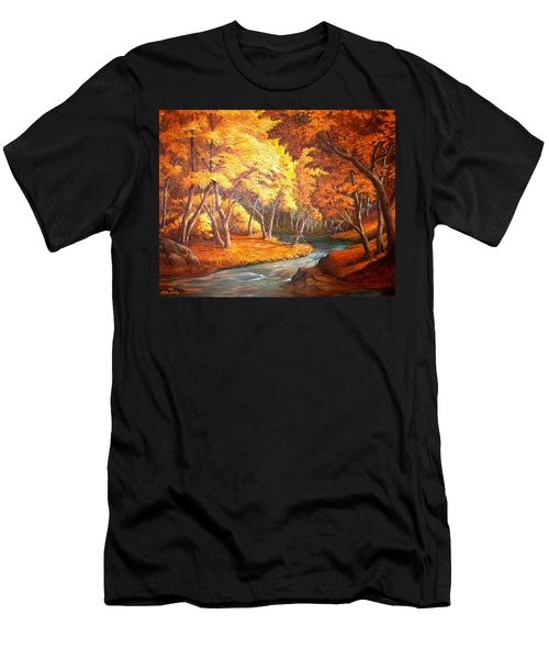 Country Stream In The Fall Men's T-Shirt (Slim Fit) by Loxi Sibley