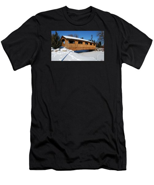 Covered Bridge Crossing The Stream Men's T-Shirt (Athletic Fit)