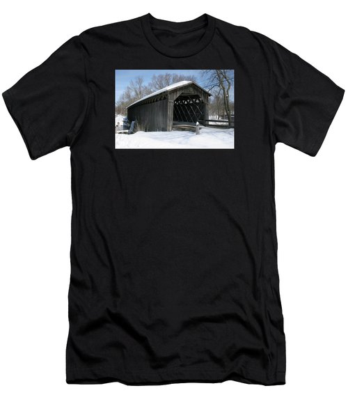 Covered Bridge In Winter Men's T-Shirt (Athletic Fit)