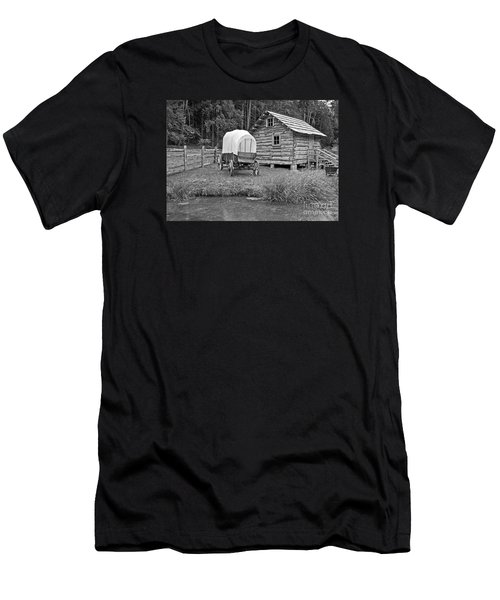 Covered Wagon Near Log Cabin Black And White Men's T-Shirt (Athletic Fit)