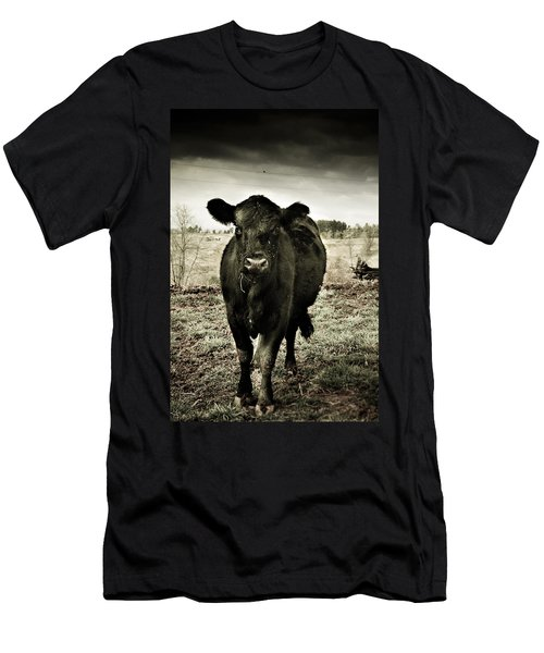 Cow In The Winter Pasture  Men's T-Shirt (Slim Fit) by Gray  Artus