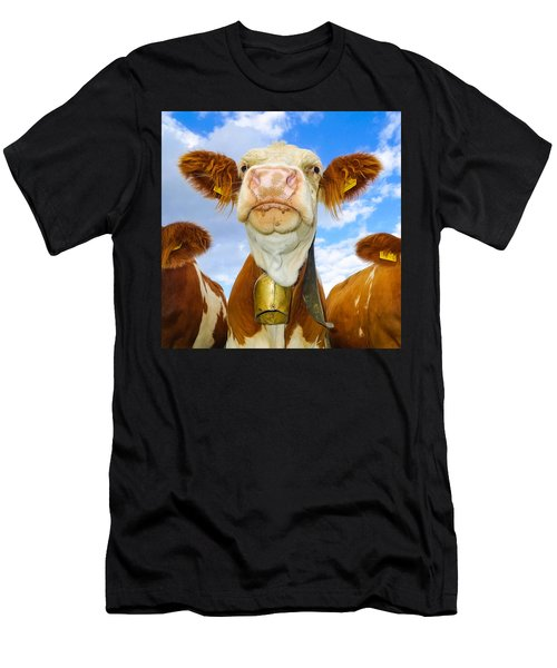 Cow Looking At You - Funny Animal Picture Men's T-Shirt (Athletic Fit)