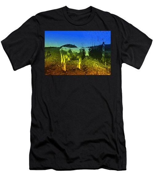 Men's T-Shirt (Slim Fit) featuring the digital art Cow On Lsd by Cathy Anderson