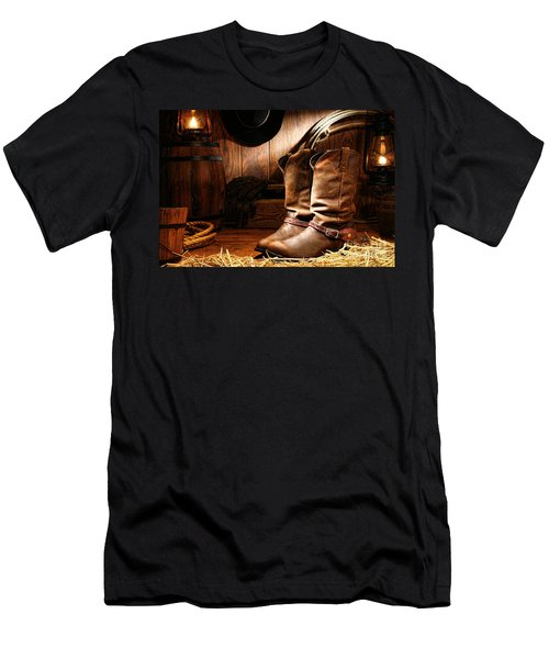 Cowboy Boots In A Ranch Barn Men's T-Shirt (Athletic Fit)