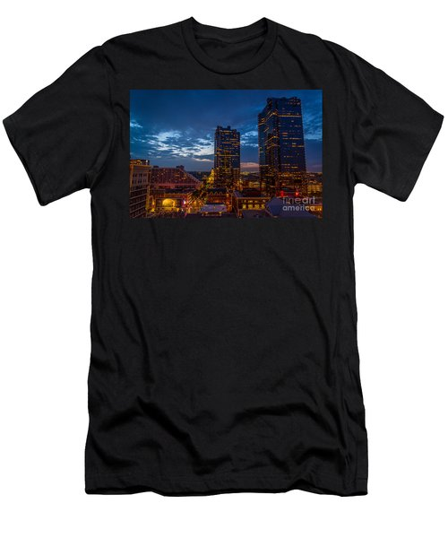 Cowtown At Night Men's T-Shirt (Athletic Fit)