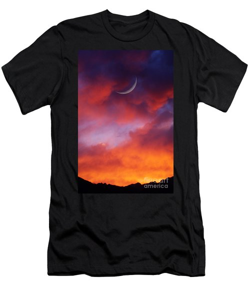 Men's T-Shirt (Slim Fit) featuring the photograph Crescent Moon In Purple by Joseph J Stevens