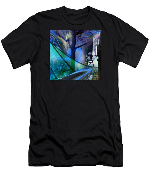 Men's T-Shirt (Slim Fit) featuring the painting Crossing Roads by Allison Ashton