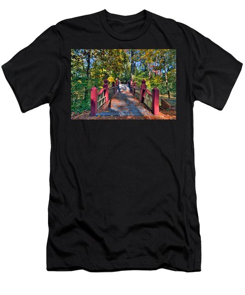 Men's T-Shirt (Slim Fit) featuring the photograph Crossing The Crim Dell Bridge by Jerry Gammon