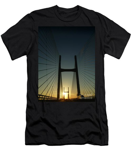 Men's T-Shirt (Slim Fit) featuring the photograph Crossing The Severn Bridge At Sunset - Cardiff - Wales by Vicki Spindler