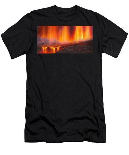 Erupting Kilauea Volcano On The Big Island Of Hawaii - Lava Curtain Men's T-Shirt (Athletic Fit)