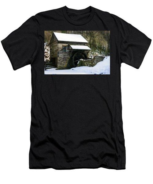 Men's T-Shirt (Slim Fit) featuring the photograph Cuttalossa Farm In Winter by Debra Fedchin