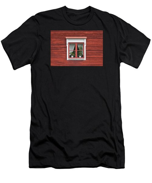 Cute Window On Red Wall Men's T-Shirt (Athletic Fit)