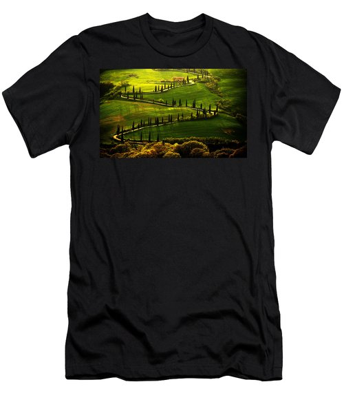Men's T-Shirt (Athletic Fit) featuring the photograph Cypresses Alley by Jaroslaw Blaminsky