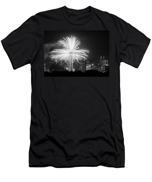 Dallas Reunion Tower Fireworks Bw 2014 Men's T-Shirt (Athletic Fit)