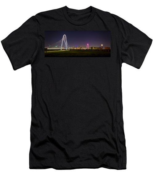 Dallas Skyline And Margaret Hunt Hill Bridge Men's T-Shirt (Athletic Fit)