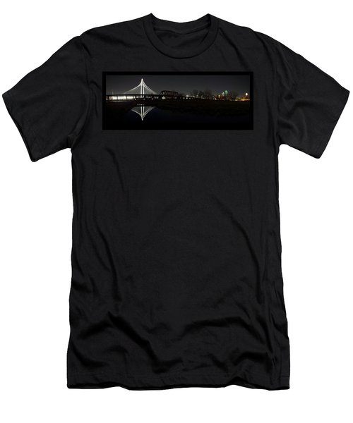 Dallas Skyline Hunt Bridge Color Men's T-Shirt (Athletic Fit)