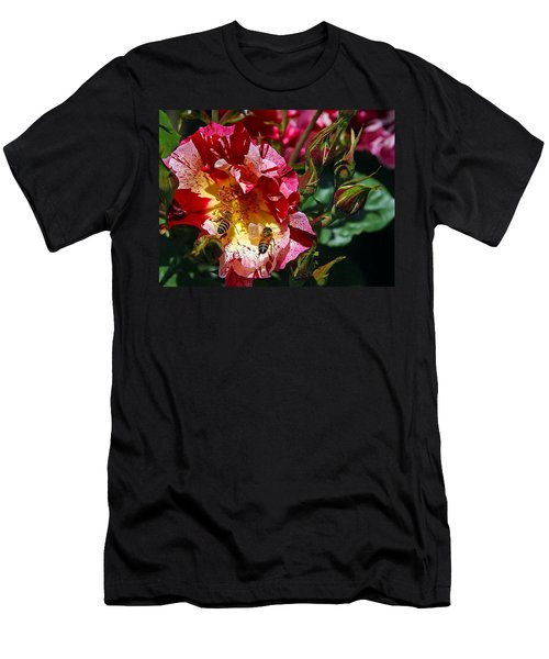 Men's T-Shirt (Slim Fit) featuring the photograph Dancing Bees And Wild Roses by Absinthe Art By Michelle LeAnn Scott