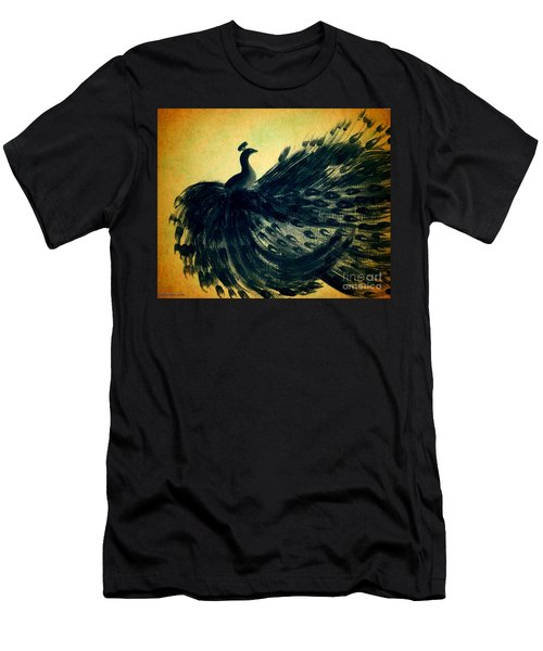 Men's T-Shirt (Slim Fit) featuring the painting Dancing Peacock Gold by Anita Lewis